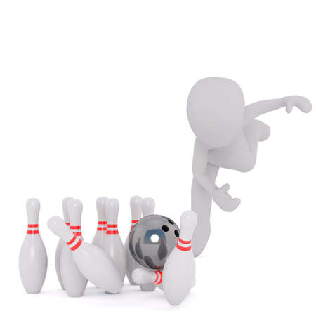 skittles: Full body 3d toon knocking down 10 pin skittles with bowling ball, white background