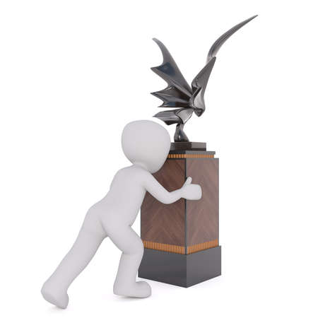 metal sculpture: Generic Gray 3d Cartoon Figure Pushing Pedestal with Modern Winged Metal Sculpture in front of White Background Stock Photo