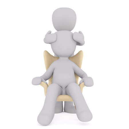 Full body 3d toon giving person in chair head massage, white background