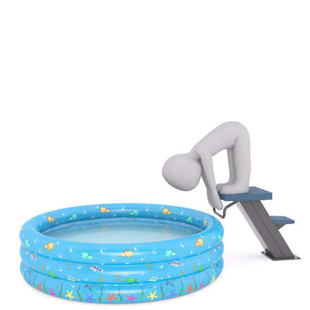Generic Gray 3d Cartoon Figure in Starting Stance on Diving Board Above Shallow Swimming Pool in front of White Background