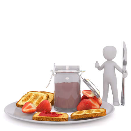 toasted bread: Small Generic Gray 3d Cartoon Figure Standing in front of White Background Giving Thumbs Up Sign and Holding Large Oversize Knife Beside Plate of Toasted Bread, Fresh Strawberries and Jar of Jelly
