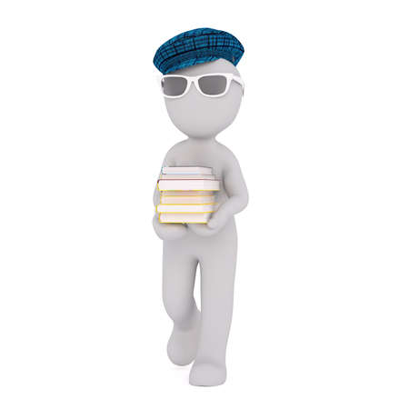 Generic Gray 3d Cartoon Figure Wearing Blue Plaid Cap and Sunglasses and Walking with Stack of Books in front of White Background
