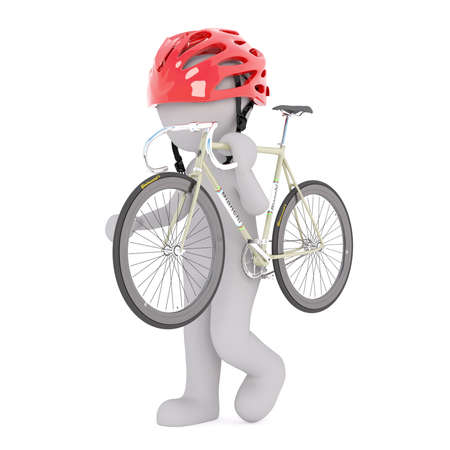 shoulder carrying: Figure of faceless 3D man in cycling helmet carrying racing road bicycle over his shoulder, render isolated on white background Stock Photo