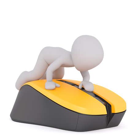 Todo el cuerpo se inclina 3d toon y ejercer presión sobre un objeto amarillo y negro