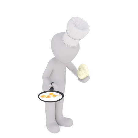 Isolated 3D figure wearing chefs hat bows while holding huge egg in one hand and frying pan in the other Stock Photo