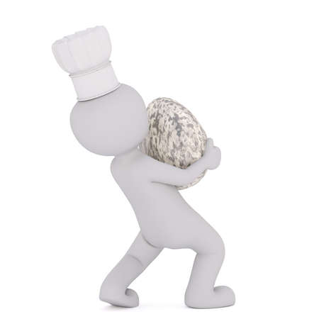 Faceless figure of 3D man in cook hat carrying huge heavy quail egg, isolated on white background