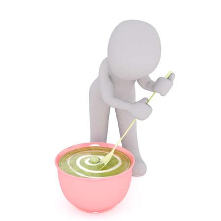 3D rendering of cartoon man stirring big bowl of pea porridge with long spoon Stock Photo