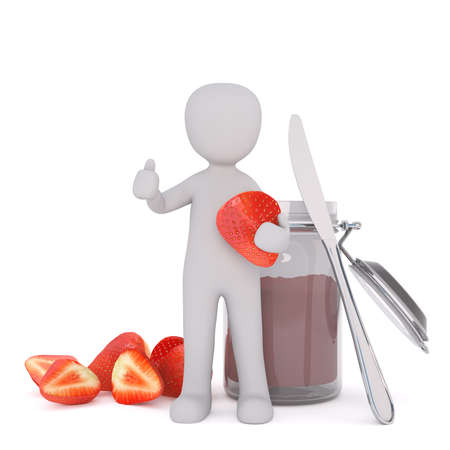 Small Generic Gray 3d Cartoon Figure Giving Thumbs Up Hand Signal While Holding Large Ripe Strawberry in front of Jar of Jelly Preserves with Knife and White Background Stock Photo