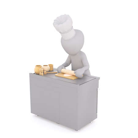 Figure of faceless 3D man character of chef standing at kitchen table and rolling out the dough with wooden pin, isolated on white background