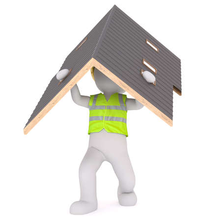 Generic Gray 3d Cartoon Figure Wearing Reflective Safety Vest and Carrying Roof of House in front of White Background