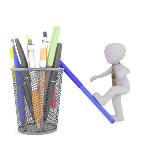 writing implements: Faceless 3D man cartoon character stepping up on blue marker next to pencil holder basket with pens, isolated on white background