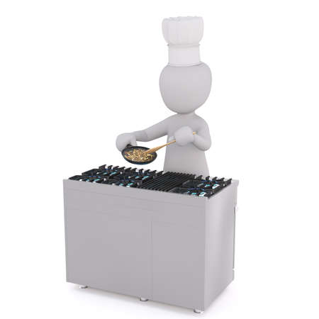 Figure of faceless 3D man chef standing at gas stove and stirring vegetables in pan, isolated on white background