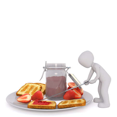 Small Generic Gray 3d Cartoon Figure Dipping Large Oversize Knife into Jar of Jelly Preserves Resting on Plate with Toasted Bread and Fresh Strawberries