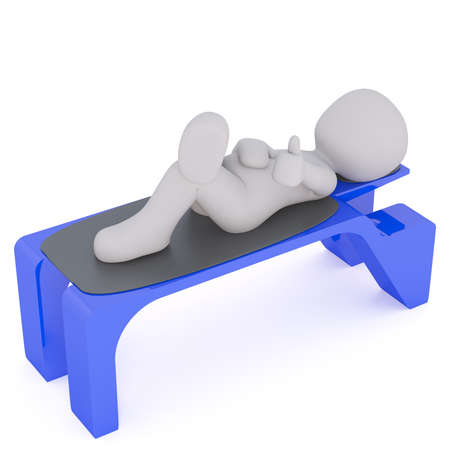man lying down: Elevated view of 3d toon character relaxing on blue plastic bench, white background Stock Photo
