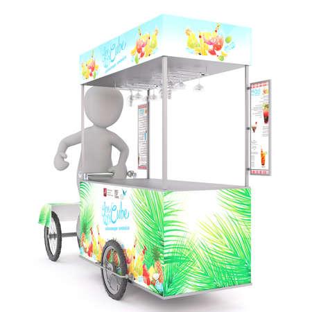 carretto gelati: il corpo 3d toon Vender in decorativo gelato della spesa, sfondo bianco