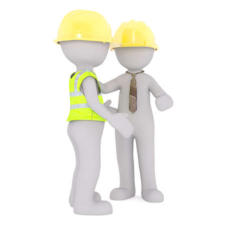 Faceless 3D people in hard hats - construction worker in safety vest and his boss in necktie talking, standing isolated on white background
