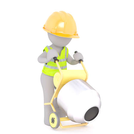Figure of faceless 3D man construction worker in hardhat and safety vest unloading concrete from mixer, standing isolated on white background