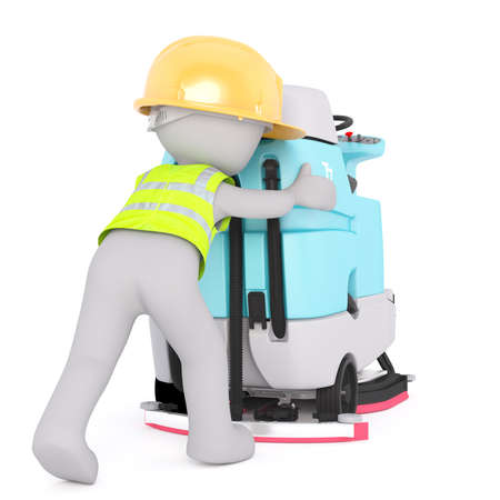 Figure of 3D man worker in hard hat and signal vest pushing drivable floor scrubber machine with hands, render isolated on white background Stock Photo
