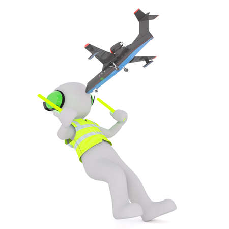 knocking: Figure of little airplane falling Onto faceless 3D one airport worker marshaller, knocking him down. Stock Photo