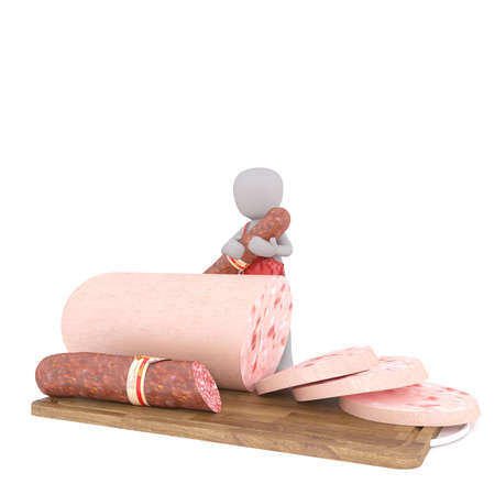 Figure of faceless 3D man butcher with sausages sliced on cutting board, standing isolated on white background