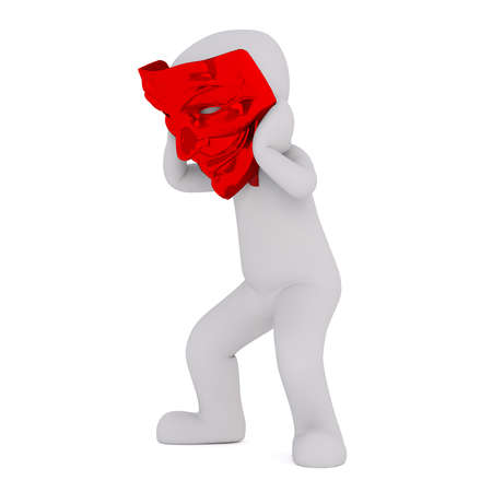 3d Rendering of Cartoon Character Trying on Oversize Red Devil Mask and Crouching in front of White Background Stock Photo