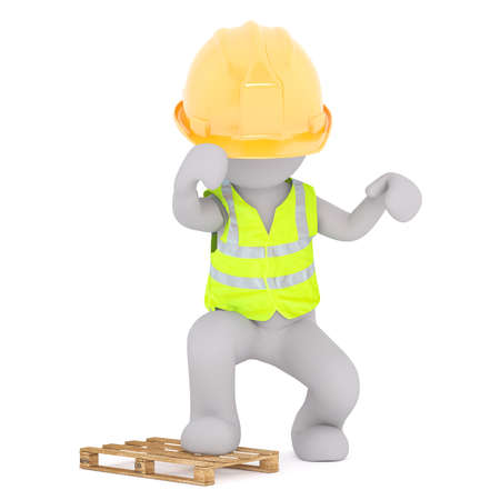 Figure of faceless 3D man construction worker in hard hat and safety vest breaking pallet with his foot, standing isolated on white background