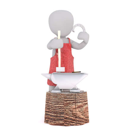 anvil: Figure of faceless 3D man character of blacksmith in apron standing at anvil and showing horseshoe, render isolated on white background