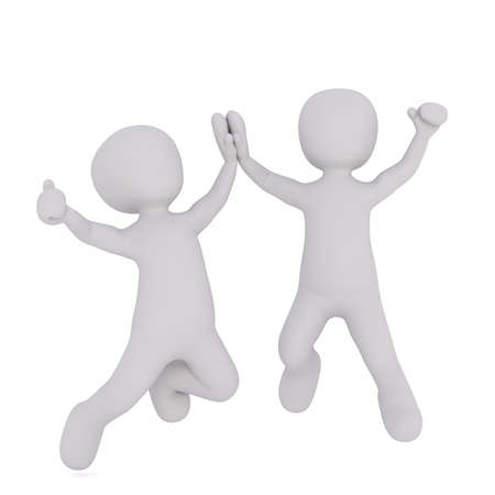 exhilaration: 3d rendering of Two Excited Cartoon Characters Leaping into the Air and Giving High Five Congratulations