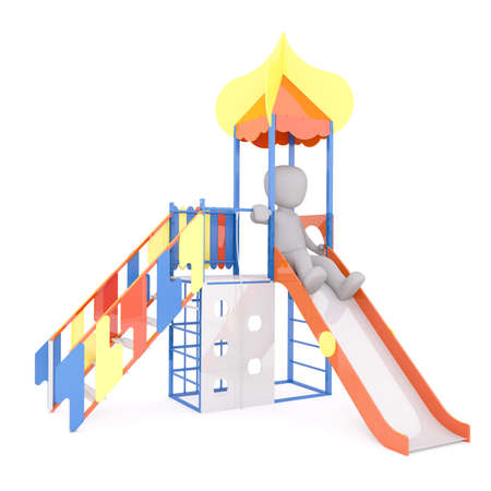 Generic 3d Rendered Childlike Cartoon Character Sliding Down Slide on Playground in front of White Background