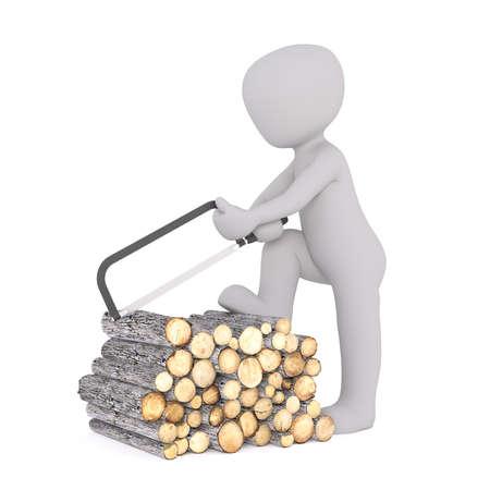 Generieke 3d Gesmolten Cartoon karakter bedrijf Hack Saw en snijden Logs stapel van brand hout voor witte achtergrond