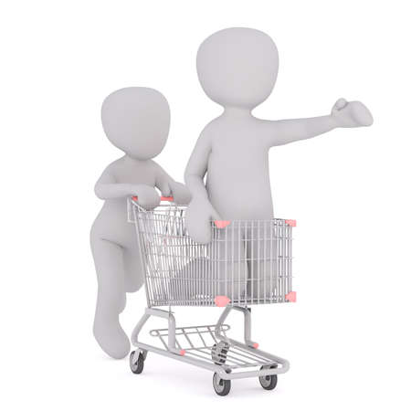 outstretched hand: Faceless 3D men playing in supermarket with rolling adult in shopping cart, standing on knees with outstretched hand, render isolated on white background Stock Photo