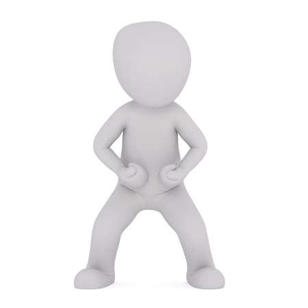 personas enojadas: Combativa 3D figura ilustrada de pie con los puños cerrados y las piernas muy espaciados