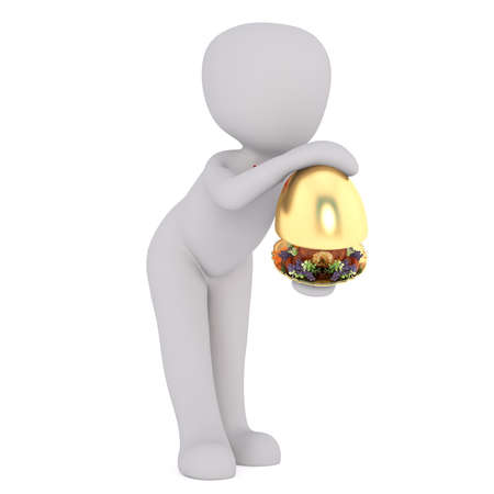 man: Faceless 3D man waiter character serving dish opening golden cloche cover, standing isolated on white background Stock Photo
