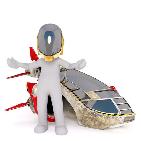 triumphant: Triumphant 3D illustrated pilot wearing gold plated helmet and standing with arms with beside his vehicle