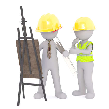 3D rendering of construction workers in hard hats and holding ruler look at and easel with their plans