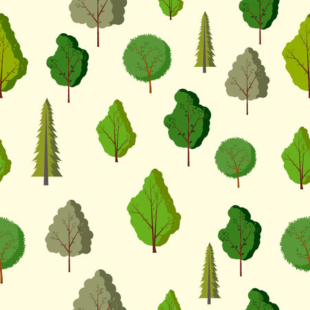 Forest seamless pattern with various type of the trees. 矢量图像