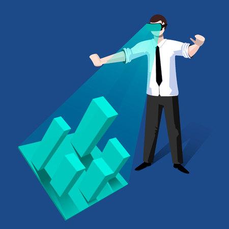Hombre joven con casco de realidad virtual y entrar en el mundo vr. Hombre desarrollando un proyecto de arquitectura de la ciudad con gafas de realidad virtual. Ilustración de diseño plano de vector. Diseño cuadrado.