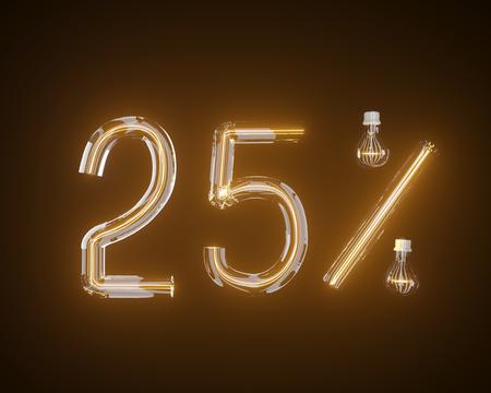 percent of light bulb 3d illustration 3d,background,black Stock Photo