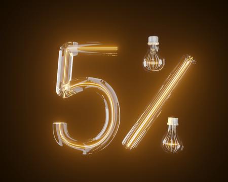 percent of light bulb 3d illustration 3d,background,black 版權商用圖片
