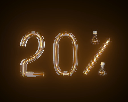 percent of light bulb 3d illustration 3d,background,black Stock Photo