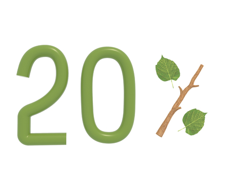 3d illustration green text designed with leaves and a stick (branch) percent icon isolated on white background. For spring sale campaigns. special,  spring,  stick,  sticker