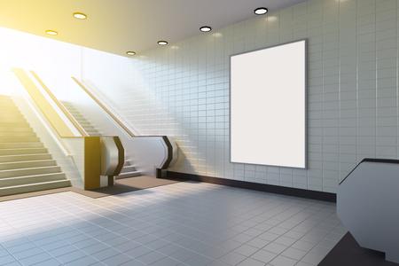 Mock up poster media template ads display in Subway station escalator banner,  big,  bill,  billboard,  blank,  board,  bright,  business,. 3d rendering
