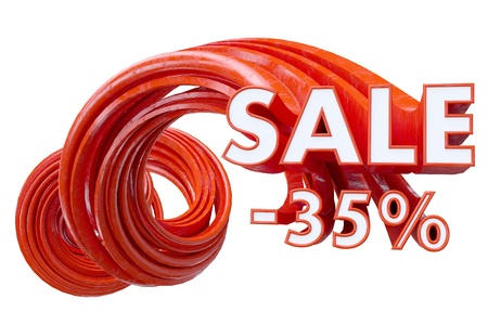Sale red on white background. 3d illustration  sticker,  symbol,  tag,  template,  text,  up,  white Stock Photo