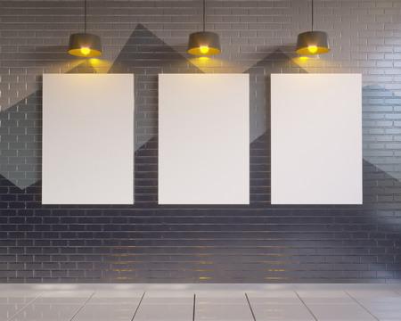 mock up poster with vintage pastel hipster minimalism loft interior background, 3D rendering, 3D illustration vintage,  wall,  white,  wooden,  work