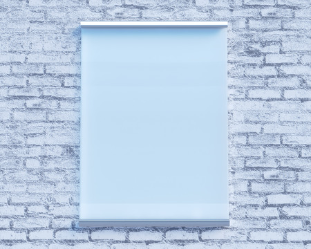 Transparent signboard on concrete wall, mock up 3d illustration style,  symbol,  template,  transparent,  up,  wall,  white  plate, Stock Photo