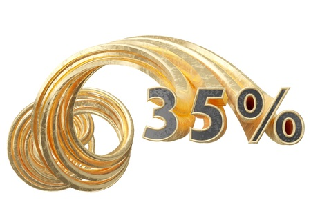 Copper gray 35 percentages on a white background. 3d illustration