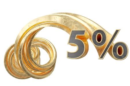 Copper 5 percentages on a white background. 3d illustration