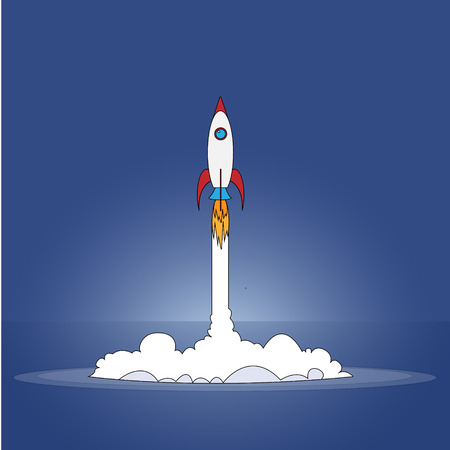 Flat style illustration with spaceship. Rocket flying on chart, graph going up.
