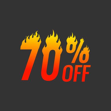 70 off hot sale banner template on black background. Illustration