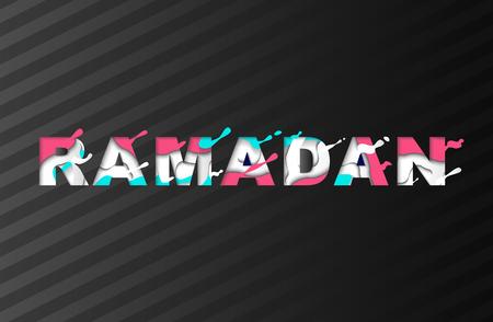 Ramadan Kareem Greeting card with Arabic Symbol in modern paper cut multi color layers letters.